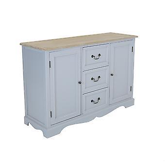 Charles Bentley Stora Loxley Trä Två ton sideboard skåp bord med metall handtag Grå