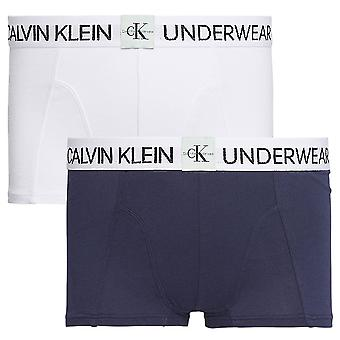 Calvin Klein Boys 2 Pack MINIGRAM Boxer Trunk, White / Black Iris, Age 8-10