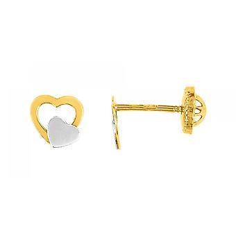 Doppel-Herzen Laqu s Gold 750/1000 gelb und weiß (18K)