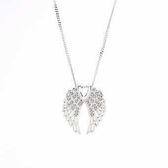 Eternity Sterling Silver Double Cubic Zirconia Angel Wing Pendant And Chain