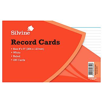 Silvine Large Record Cards Pencil Feint 100 Sheets