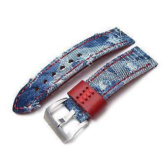 Strapcode tissu robe bracelet 24mm miltat zizz collection en denim en denim robe sangle rouge couture à la main