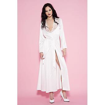 Kimono largo satinado-blanco