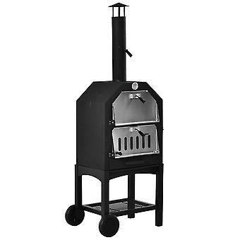 Outsunny Charcoal Pizza Oven 2-Tier Freestanding Outdoor Maker BBQ Grill w/ Chimney Mesh Shelf Thermometer Handles Wheels Stainless Steel Cooker Garden Party Gathering High-Quality
