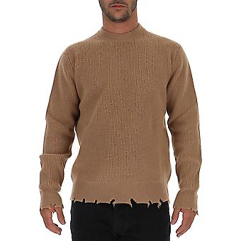 Laneus Mgu750cc20cammello Men's Beige Wool Sweater