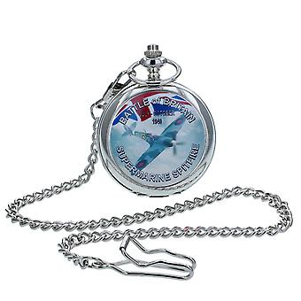 Boxx Gents White Dial Battle Of Britain Spitfire Pocket Watch op 12 Inch Chain Boxx415