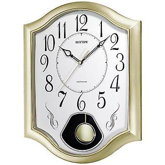 Ritme 7494/9 De klok van de muur Kwarts met slinger gouden slingerklok met melodie