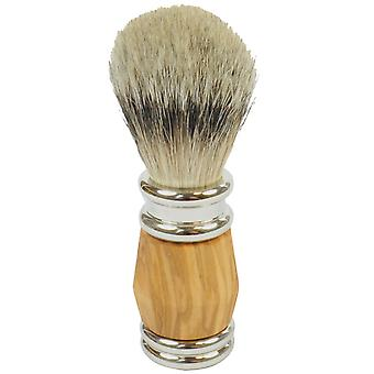 Gold roof shaving brush with badger silver tips olive wood handle