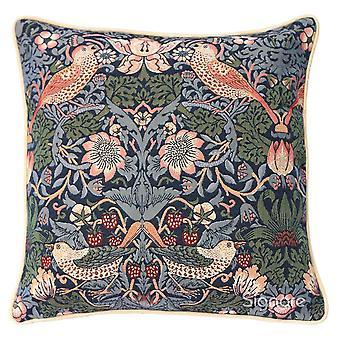 William morris strawberry thief blue cushion cover | floral cushions 18x18 inch | ccov-stbl