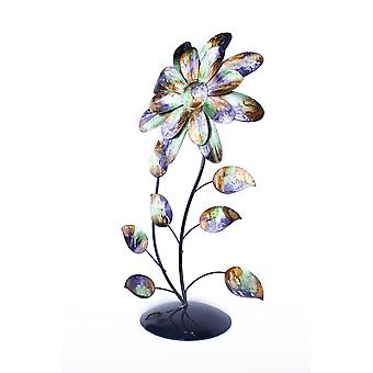 Bo Green Blue and Copper Metal Flower Table Top Sculpture