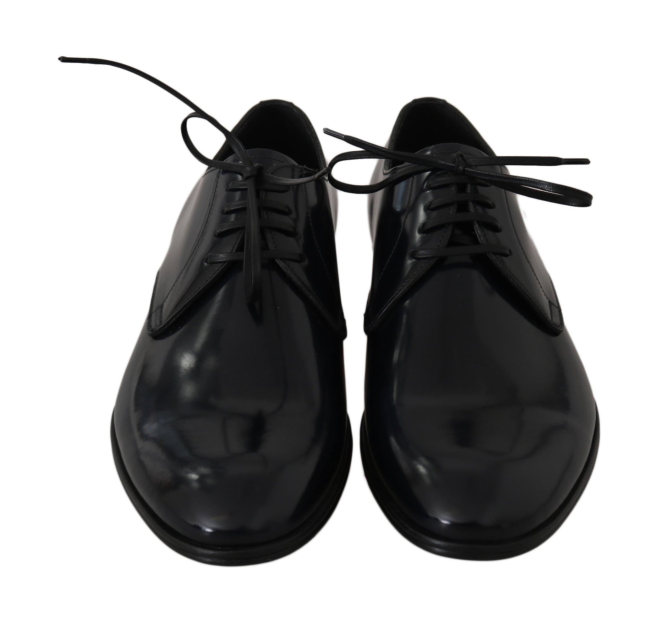 Dolce & Gabbana Blå Skinn Kjole Derby Formelle Menns Sko -- Mv23026736