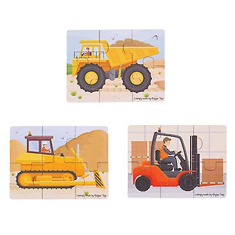Bigjigs Toys Wooden Big Movers Construction Vehicles Jigsaw Puzzles Set