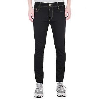True Religion Jack Skinny Tapered Gold Trim Black Denim Jeans