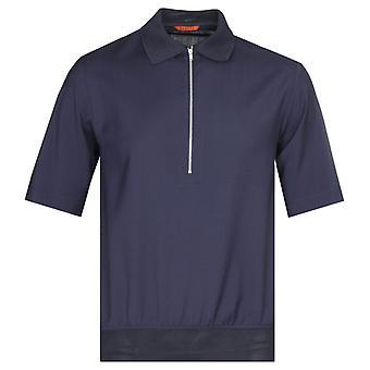 Barena Argo Zip Placket Navy Polo Shirt