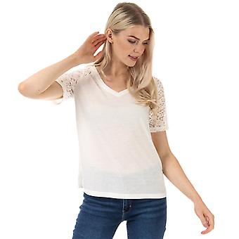 Women's Jacqueline de Yong Stinne Lace V-Neck Top in White