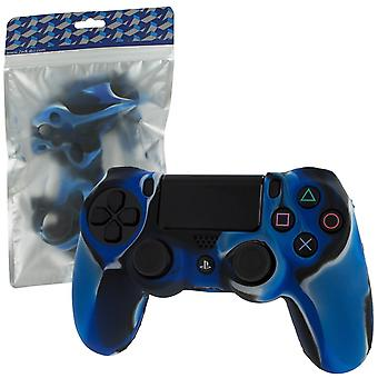 Pro Soft Silicone Protective Cover with Ribbed Handle Grip for PS4 - Camo Blue