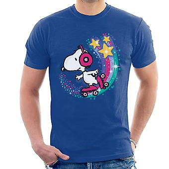 Peanuts Snoopy Roller Skating Star Powered Rainbow Men's T-Shirt