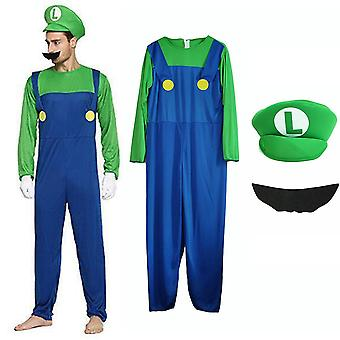 Super Mario Bros Mens Cosplay Fancy Dress Outfit Kostym