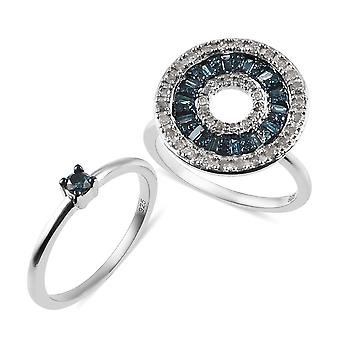 Blue Diamond Cluster, Solitaire Ring Silver Platinum Plaqué Diamant Blanc TJC