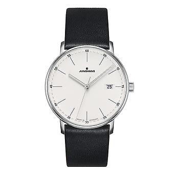 Junghans Forma Quartzo 041/4884.00 Prata Dial Black Leather Strap Relógio Masculino