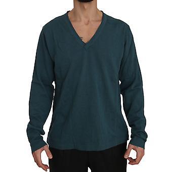 Dolce & Gabbana Blue Cotton V-neck Pullover Top Sweater