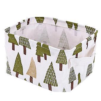 Foldable Cotton Linen Sundries Storage Box Pine Pattern 20x13x16cm