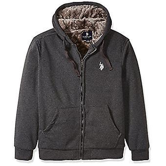 U.S. Polo Assn. Men's Sherpa Lined Fleece Hoodie, Dark Heather Grey/GLMC, L