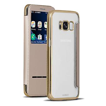 Translucent Case with Bling for Samsung Galaxy S8 Synthetic Leather Glittering Gold