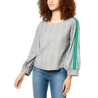 Seven Sisters   Striped/Plaid Sleeve Top