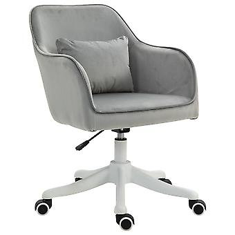 Vinsetto Velvet-Feel Tub Office Chair w/ Massage Pillow Wheels Adjustable Height Ergonomic Padding Luxe Home Style Seat Grey