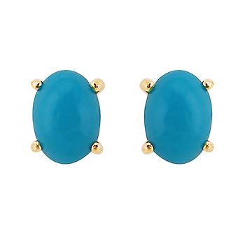 Classic Oval Turquoise Cabochon Stud Earrings in 9ct Yellow Gold 7x5mm 26936