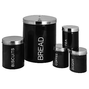 5 Piece Contemporary Kitchen Storage Canister Set - Steel Tea Coffee Sugar Caddy with Rubber Seal - Black
