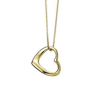 Начало стерлингового серебра Позолоченный слип на сердце Кулон P4869