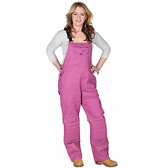 Rosies womens dungarees - raspberry workwear - dark pink