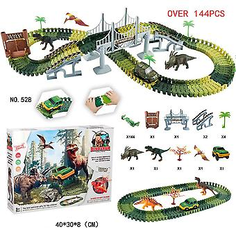 Diy Simulation Jungle Dinosaur Track Theme Park Animal Figures Sets  (144pcs)