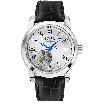 Gevril Men's 2583 Madison Swiss Automatic Silver Dial Black Leather Watch