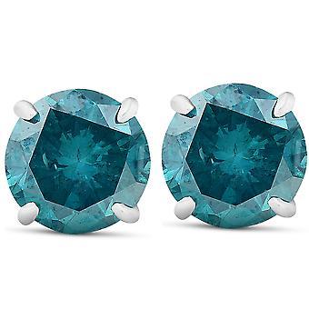 3.25 Ct Blue Diamond Borchie 14k Oro Bianco