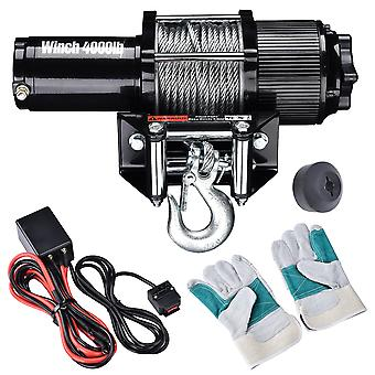 Yescom 4000 lbs 12V 1.24HP Electric Recovery Winch with Remote Switch Line Stopper Gloves ATV Trailer Truck Towing
