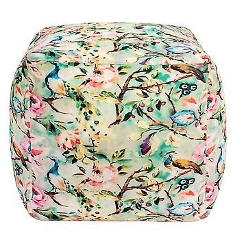Spura Home Handmade Peacock Design Velvet Multi-Colour Home Décor Pouf