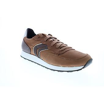 Geox U Vincit  Mens Brown Leather Euro Sneakers Shoes