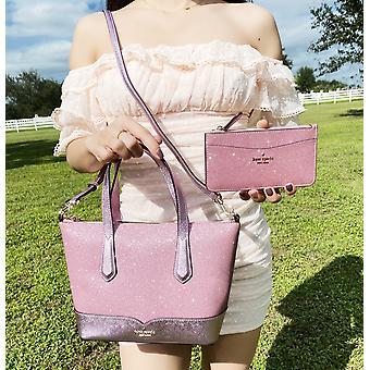 Kate spade lola glitter small top zip satchel rose pink + large card holder