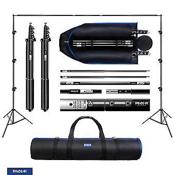 Phot-r 3x3m pro studio bakgrunn støttesystem + bæreveske, 2x 3m står 1x 3m tverrliggeren adjustabl