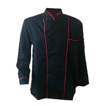 Long Sleeve Classic Kitchen Cook Chef Waiter Waitress Coat Uniform Jacket Black