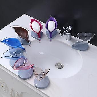 Sæbeholder Badeværelse Bruser Sæbeskål Væg Hylde Plast badbakke Bruseplader Sæbe Opbevaring Leaf Type Box med afløb