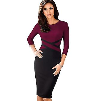 Elegant Contrast Patchwork Wear To Work Business Party Office Women Dress