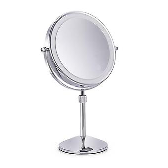 Rotatable Bedroom Table Lifting Makeup Mirror - Magnifying Double Led Light