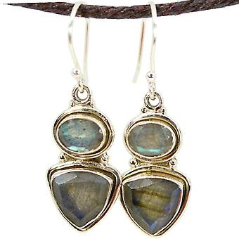 Trillion And Oval Cut Labradorite Earrings