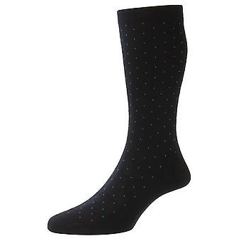 Pantherella Gadsbury Cotton Fil D'Ecosse Pin Dot Socks - Navy