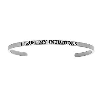 """Intuitions Stainless Steel I TRUST MY S Diamond Accent Cuff  Bangle Bracelet, 7"""""""