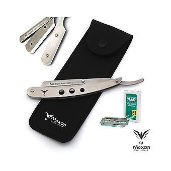 Maxon Silver Straight Razor Shaving Set Stainless Steel
